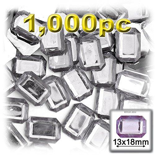 長方形の八角形Craftsコンセント1000-pieceアクリルアルミ箔フラットバックラインストーン、13by 18mm、クリアの商品画像
