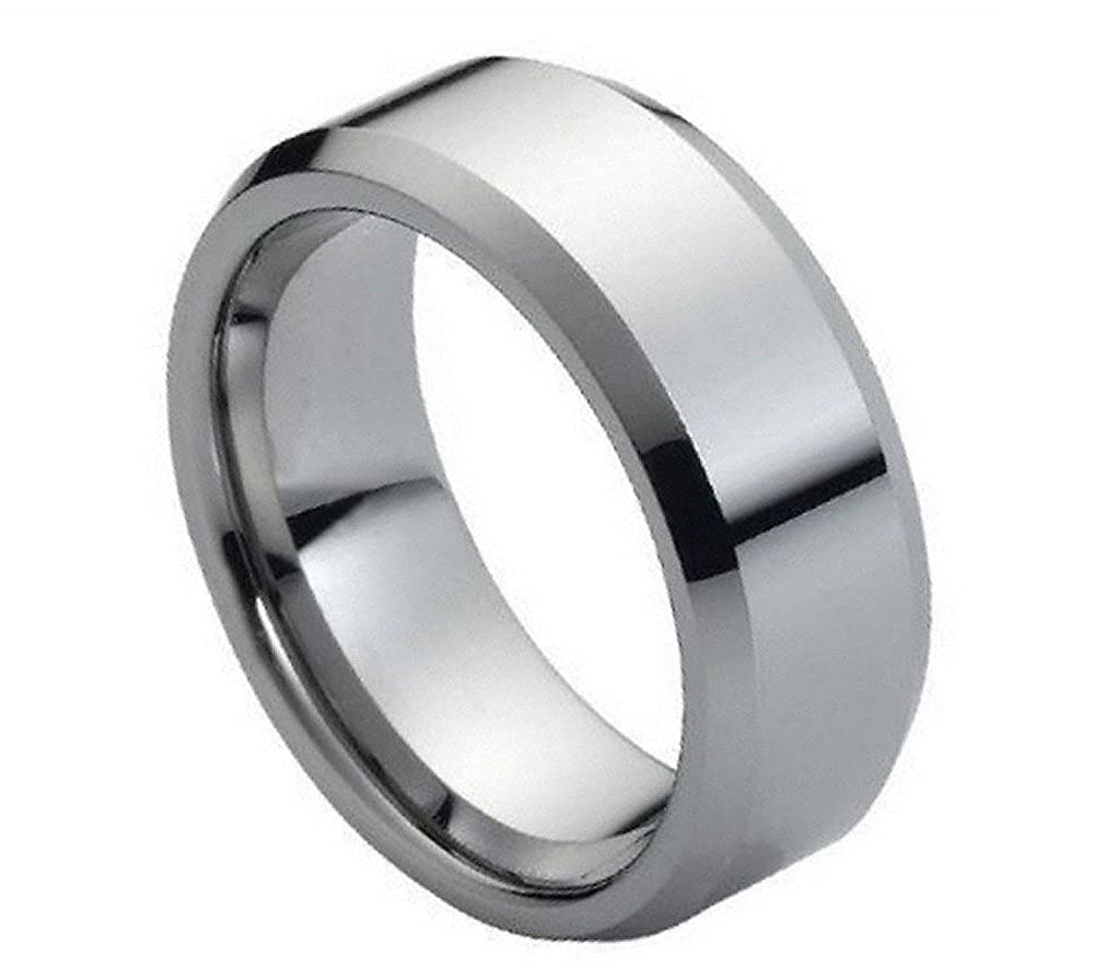 9mm Tungsten Carbide high Polish Beveled Edge Wedding Band Ring for Men or Ladies