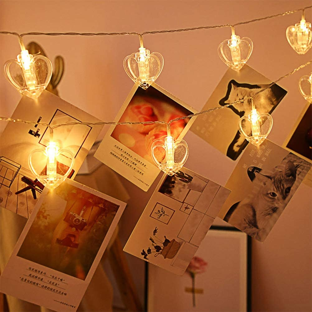 Lwind Photo Clip String Lights, 20 Big Love Heart Clip LED Warm-White Fairy Twinkle Lights Powered by 3 AA Batteries for Hanging Photos, Cards and Light Artwork, ect (Love Heart Clip)