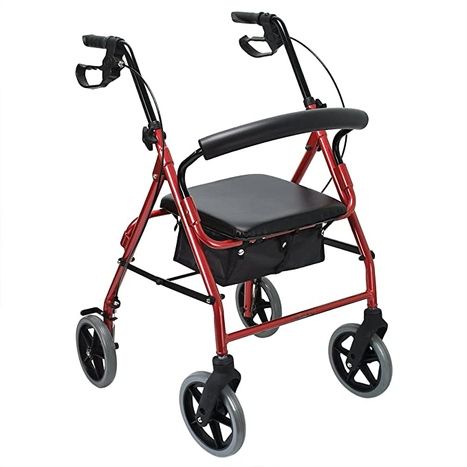 Health Line Aluminum Folding Mobility Rollator Walker with 8 Inch Wheels for Seniors, Paded Seat and Backrest, Red