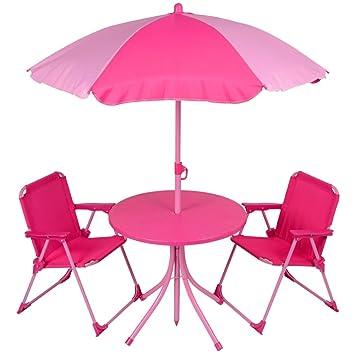 Kids 4pc Garden Patio Furniture Set Pink Table Parasol Folding Camping  Chairs. Kids 4pc Garden Patio Furniture Set Pink Table Parasol Folding