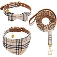 CHERPET Bow Tie Dog Collar and Leash Set - Cute Plaid Bandana Necktie Adjustable Leather Small…