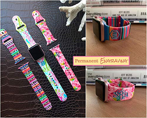 Lilly Inspired Personalized Band compatible with Apple Watch 38mm, 40mm, 42mm, 44mm,15 engraving colors, and 10 Permanent Monogram designs, Floral Watch Band Compatible with Apple Watch