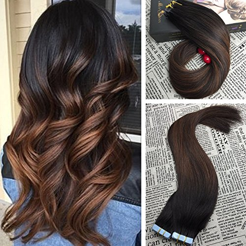 Moresoo 16 inch hair extensions tape on hair real human hair 2 home pmusecretfo Image collections