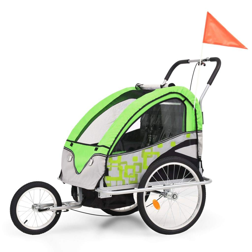 Festnight 2-in-1 Children Bike Trailer 2-Seater Kids Jogger Stroller Foldable Childs Bicycle Trailer for 2 Kids - Green and Grey Steel Frame, 113x85x105 cm