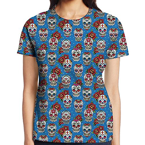 WuLion Pattern with Skulls Roses in Floral Mexican Styles Women's 3D Print T Shirt L White
