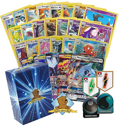 100 Count Pokemon Card Lot! Featuring a Pokemon League Badge Pin! Comes with a GX Foils Commons/Uncommons And Rares!