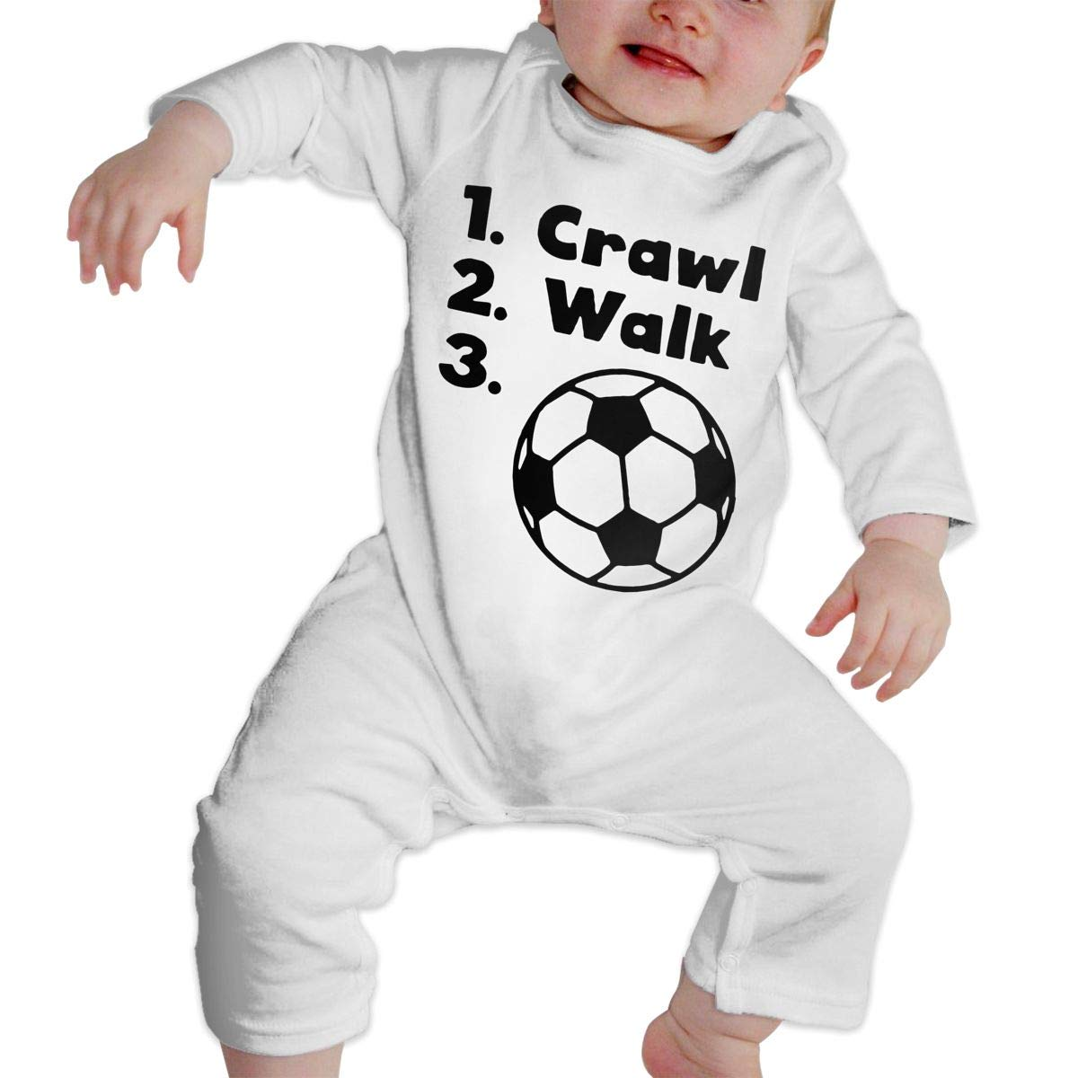 A1BY-5US Infant Baby Boys Girls Cotton Long Sleeve Crawl Walk Soccer Climb Romper One-Piece Romper Clothes