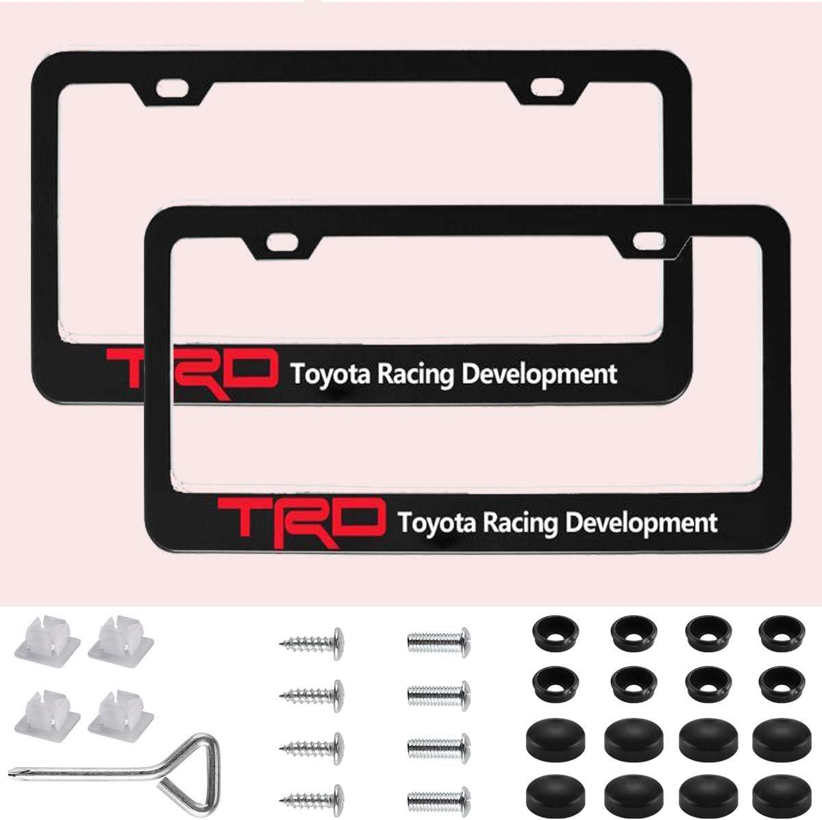 for Toyota TRD.(Black) Sparkle-um 2Pcs Newest Matte Aluminum Alloy TRD Logo License Plate Frame,with Screw Caps Cover Set,Applicable to US Standard car License Frame