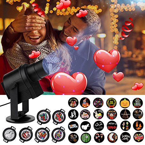 Family Outdoor Light Wall (DIY Projector Light, ACRATO LED Projection Rotating Night Lamp, 30pcs Gobos Suitable for Valentine's Day Birthday Parties Family Photo Show, Bars Karaoke Kids Party Dance Floor Wall Décor Holiday)