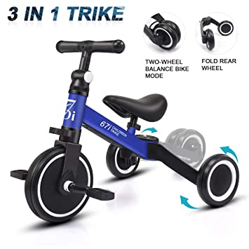 5dff9ca594b KORIMEFA 3 IN 1 Kids Tricycle 3 Wheels Baby Balance Bike Lightweight Folding  Trike Adjustable Seat
