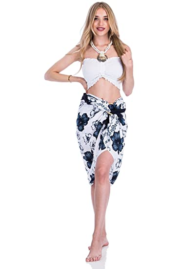 19d73c0227 Women's Summer Hibiscus Floral Printed Sarong Dress Shawl or Pareo Beach  Wrap Bamboo Tie (One_Size