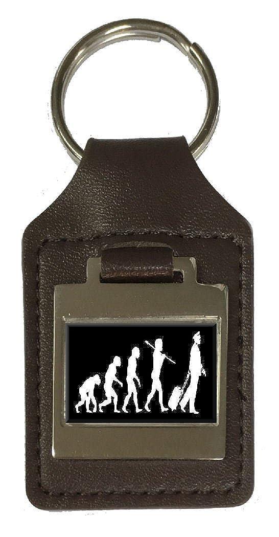 Leather Keyring Engraved Evolution Ape to Man Pilot Crew