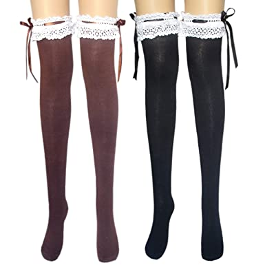 exclusive deals factory price a few days away Ladies above knee stocking socks with wide cotton lace & satin ribbon