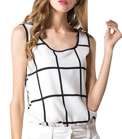 6f8dea7ff5d36 Fensajomon Womens Classic Plaid Sleeveless Chiffon Tank Casual T-Shirt  Blouse Top 1 XXS