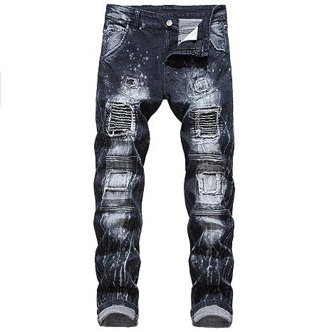 Hahashop2 - Pantalones vaqueros ajustados para hombre, corte ...