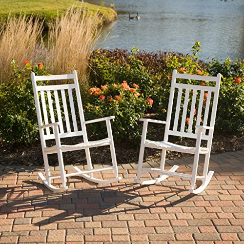 Indoor/Outdoor Slat Rocking Chairs Crafted From Durable Ash Wood In White - Set of 2 (Ash Slat)