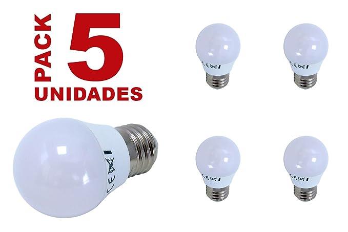 BombillasLed360 - Pack 5 x Bombilla Led Esférica G45 casquillo E27 de 6W - Luz Neutra