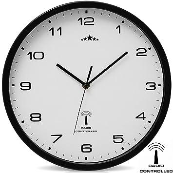 Reloj de Pared Radiocontrolado Reloj de Cuarzo Analógico 31 cm Ajuste de Hora Automático: Amazon.es: Hogar