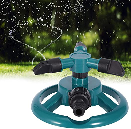 WSN Aspersor de Agua para jardín,Rociadores de jardín riego automático césped 360 Grados Completamente 3 boquillas círculo Sistema de riego Giratorio para céspedes Riego Planta de riego: Amazon.es: Hogar