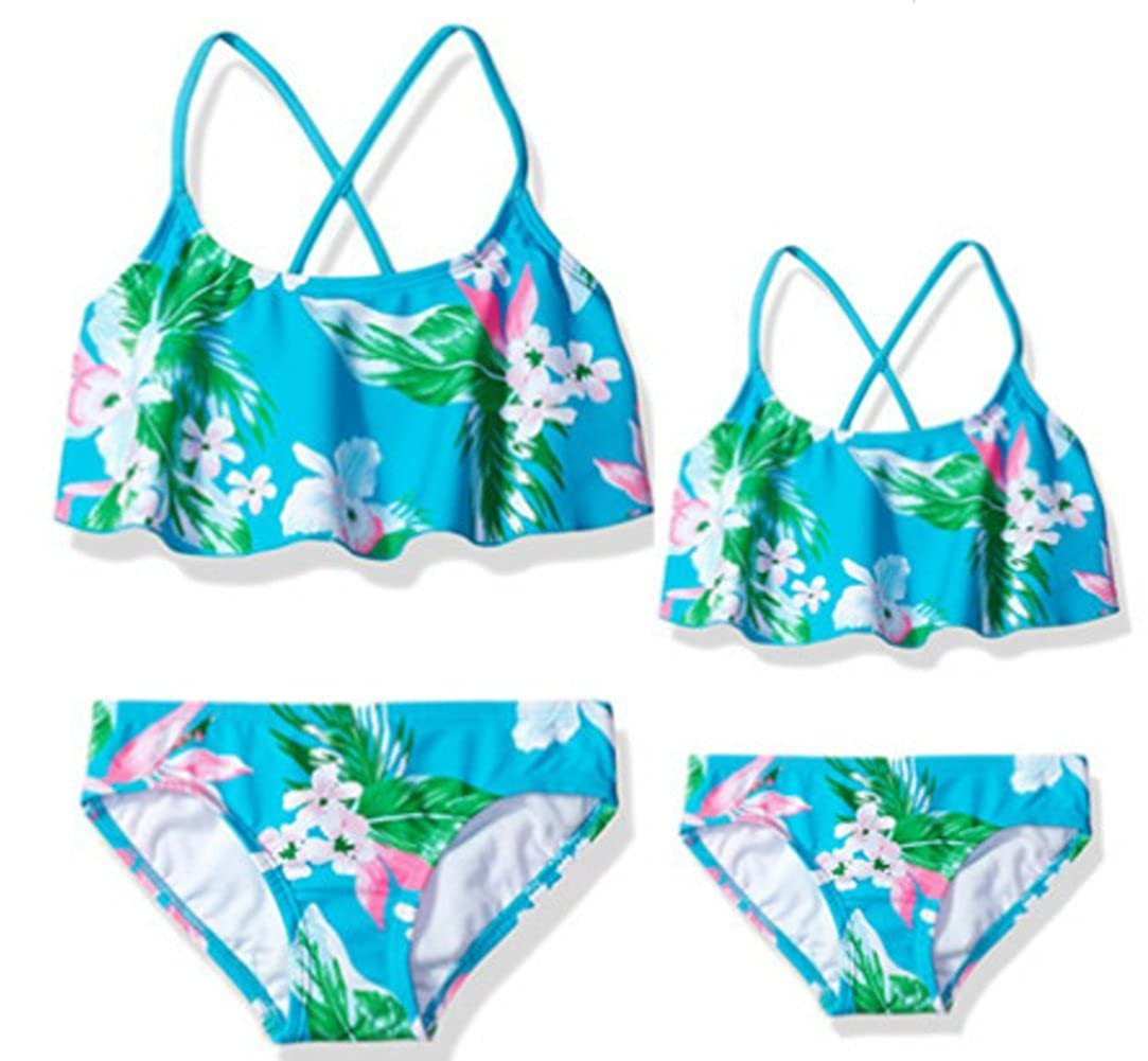 Baby Girls Bikini Swimsuit Set Mommy and Me Matching Swimwear 2-Piece Swimsuit