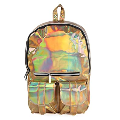 Sugawin Cute girls Gold Fashion Brilliant Hologram Design Laser Pu Leather  Casual Daypacks Shoulder Bag School 68a089f2140bc