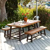 Wood Patio Table Christopher Knight Home 298403 Bowman Wood Outdoor Picnic Table Set | Perfect for Dining, Brown + Black Rustic Metal
