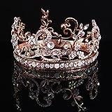 Ulike2 Elegent Women's Rose Gold Bridal Wedding Rhinestone Crown Tiara Headband Jewelry