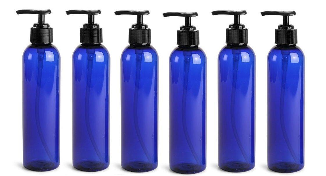 8 Oz Plastic PET Bullet Bottle Blue with Pump Dispenser Set of 6