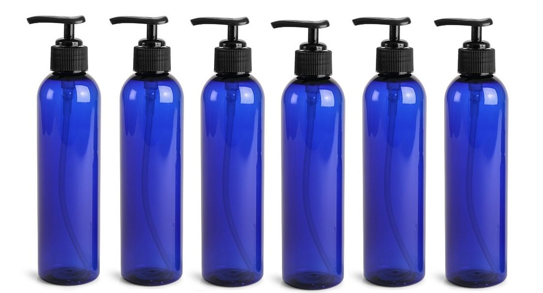 Newday Bottles, Plastic Bottle 6 Oz Cobalt Blue Cosmo Round PET BPA-Free with Black Lock Down Lotion Pump, Pack of 6