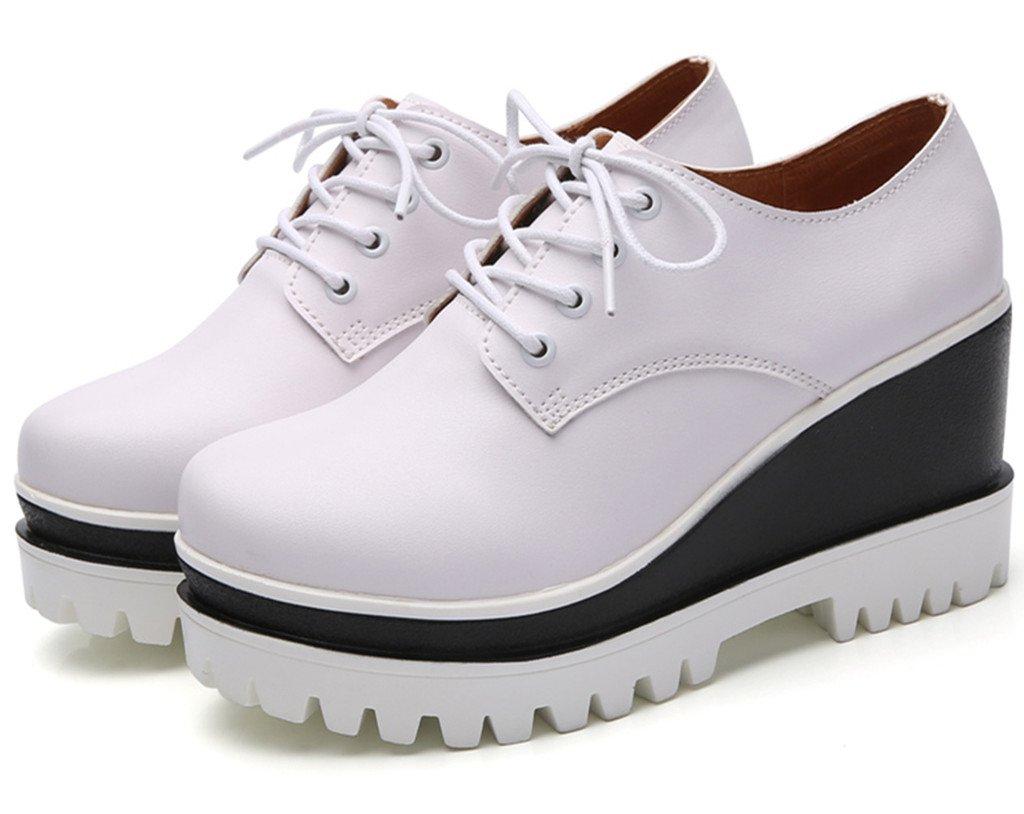 DADAWEN Women's Fashion Lace-up Platform Casual Square-Toe Oxford Shoes White US Size 5 by DADAWEN (Image #2)