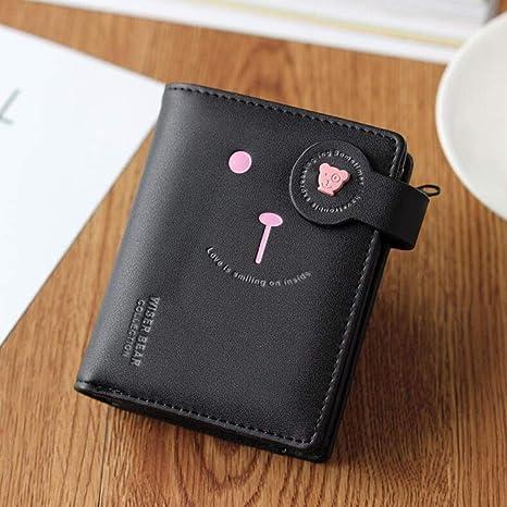 MYYDD Cartera de Las Mujeres, Cartera Corta de Dibujos Animados Mini Billetera Personalizada Cremallera Linda