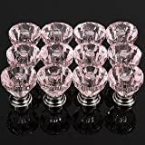 12Pcs Acrylic Crystal Clear Door Drawer Knob Handle, Pink