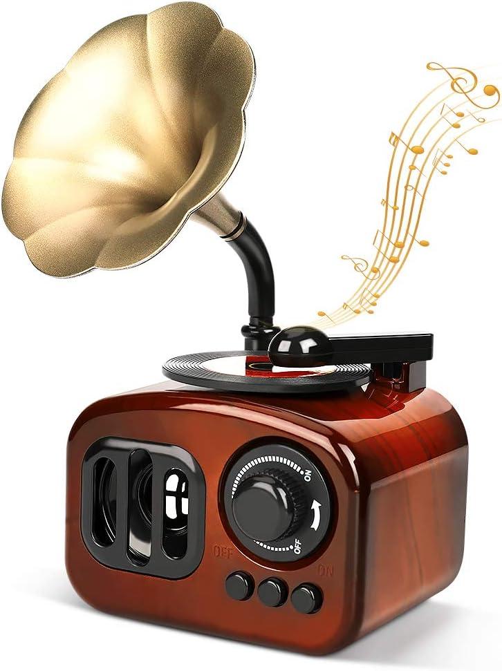 LINGSFIRE Gramophone Music Box Vintage Music Box Mini Phonograph Shaped Clockwork Music Box Vintage Home Decor Antique Music Box for Christmas/Birthday/Valentine's Day, Brown