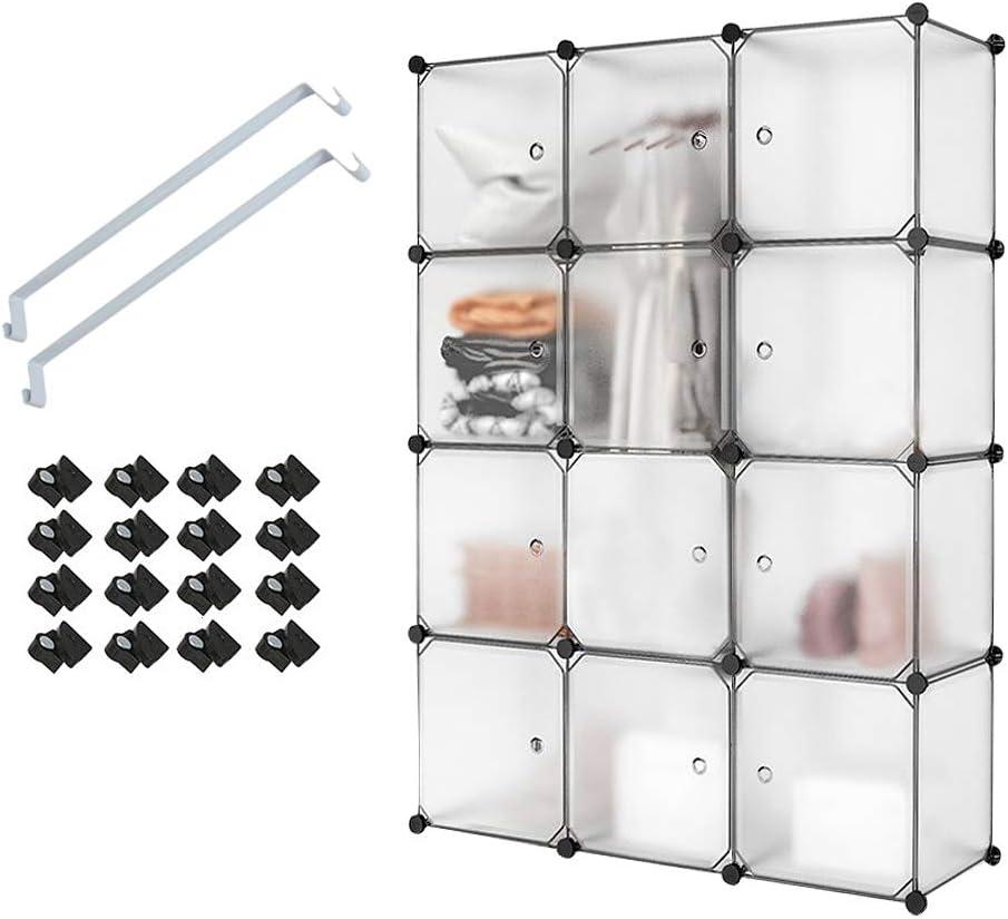 Meerveil Armario Modular con 12 Cubos, Armario portátil, Armario de Almacenamiento de Plástico,Armario Modular para Ahorrar Espacio,111cm x 37cm x 147cm,Blanco