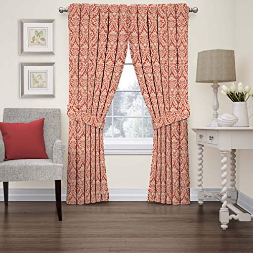Waverly 15421052084CRI Donnington 52-Inch by 84-Inch Damask Single Window Curtain Panel, Crimson