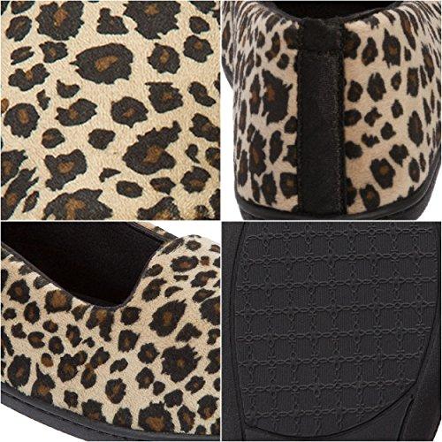Print Slippers Microfiber Dearfoams Leopard Closed Velour Women's Leopard Back zR1wxE0