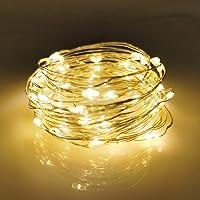 LIIDA - Paquete de 12 Guirnalda de luces de hadas (funciona con baterías, para decoración de mesas de bodas, centros de…
