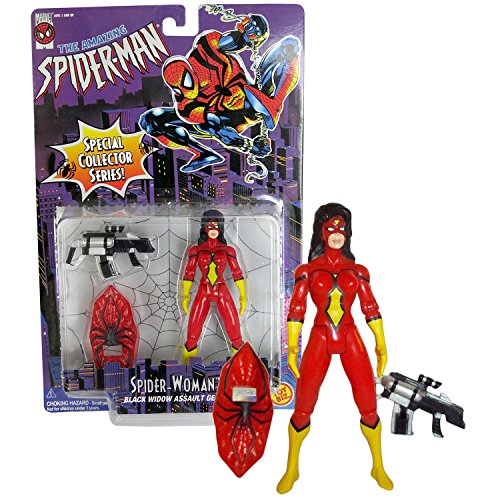 ToyBiz Year 1996 Marvel The Amazing Spider-Man Special Collector Series 5 Inch Tall Action Figure : SPIDER-WOMAN with Black Widow Assault Gear - Female Black Widow Spider