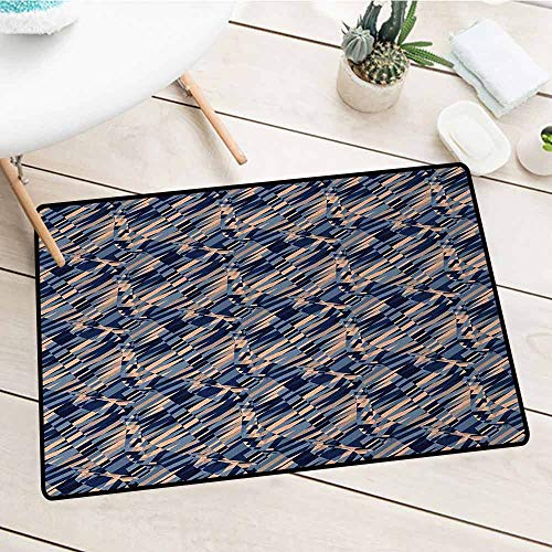 Abstract Welcome Door mat Diagonal Geometric Pattern Intersecting Lines and Waves with Fractal Effects Door mat is odorless and Durable W31.5 x L47.2 Inch Blue Peach Black