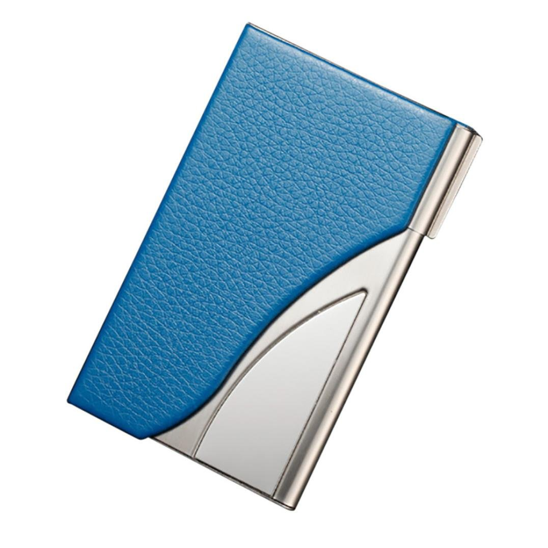 Kreditkarteninhaber, Sansee Visitenkartenetui aus Leder mit Edelstahl-Visitenkarten (Blau)