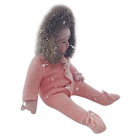 e72ddf6ce Franterd Big Hooded Baby Girls Boys Romper Kids Warm Knit Sweater Fur Hoodie  Jumpsuit Onesie Snowsuit