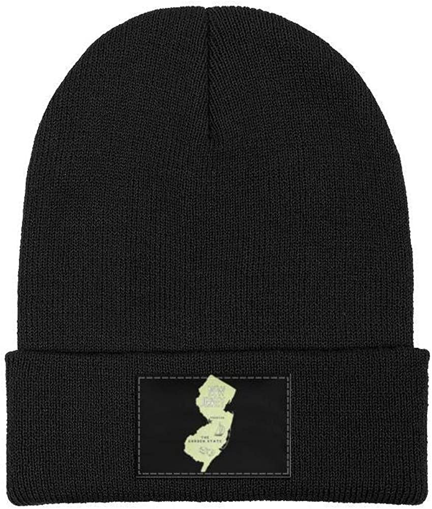 FYFYOK Mens Slouchy Beanie Hat Cashmere Hats New Jersey Map The Great Garden State Multifunction Cap
