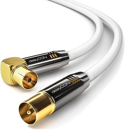 deleyCON 20m Cable de Antena TV HDTV Full HD - 1x en Ángulo Cable Coaxial Enchufe de TV (Recto) para Toma de TV (90° Grados) Tapón de Metal - Blanco