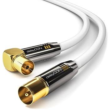 deleyCON TV Cable de antena 7,5m Cable coaxial / Conector dorado macho de TV