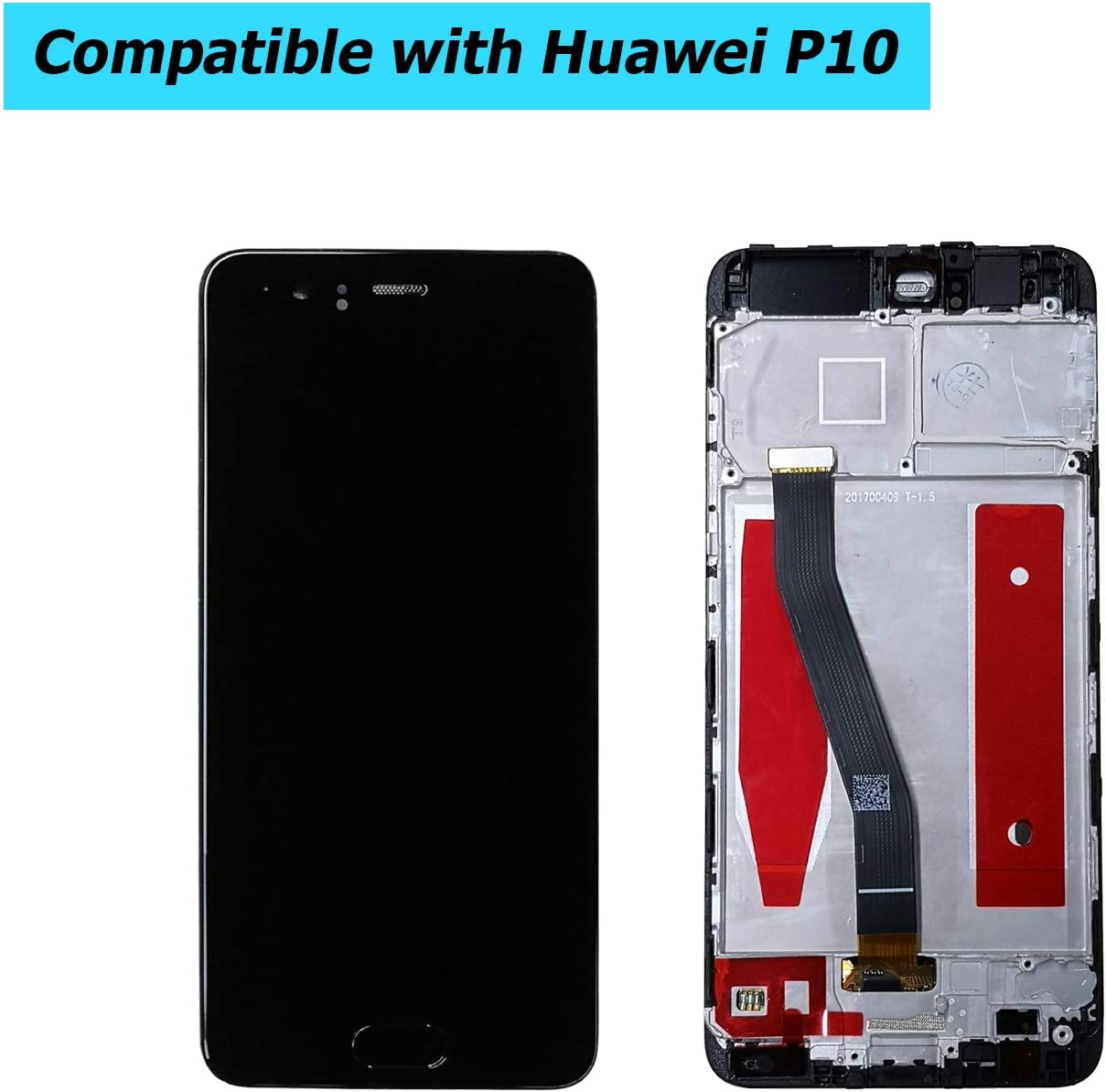 Upplus Replacement LCD Display Compatible for Huawei P10 VTR-AL00 VTR-TL00 VTR-L09 VTR-L29 Replacement Repair Display LCD Touch Screen Digitizer Assembly Glass with Frame with Toolkit Black