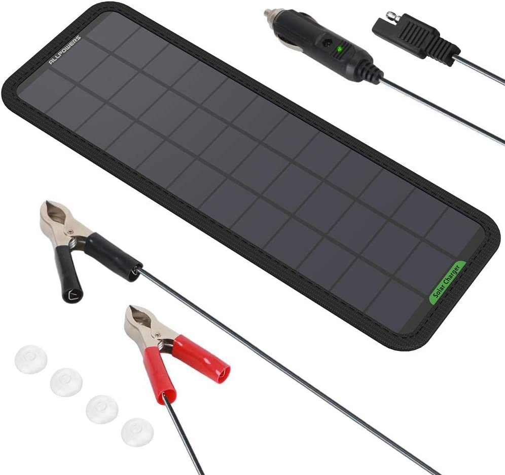 ALLPOWERS 18v 12v 7.5W Panel Solar Batería Cargador Mantenedor con Enchufe Cigarrillo, Línea Clip, Copas Succión y el Manual para Automóvil, Motocicleta, Tractor, Barco, RV Baterías
