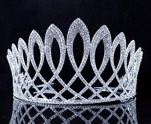 Exquisite Clear Austrian Crystal Rhinestone Tiara W Hair Combs Crown Prom T11925 ()