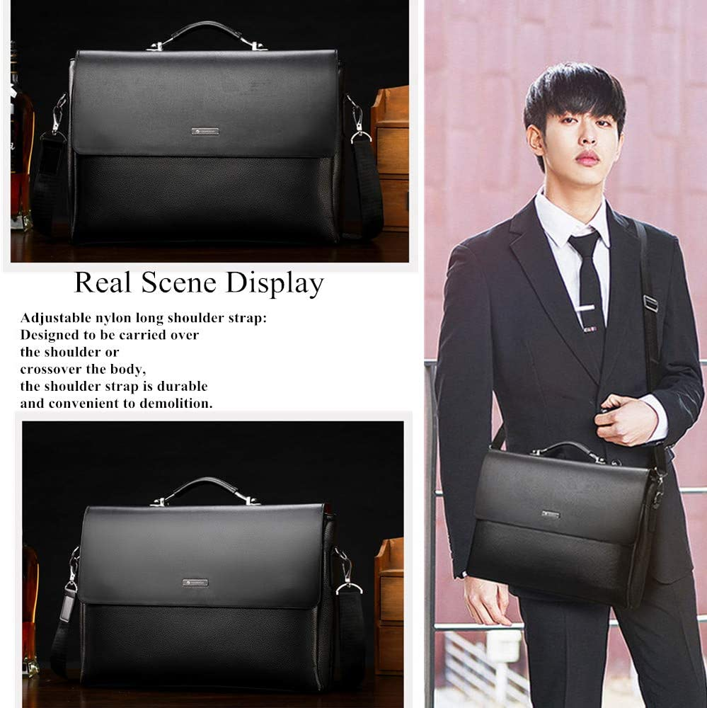 black Mens Leather Laptop Briefcases for Travel Office Business File Ipad Messenger Bag Executive Lawyer Work Shoulder Bags