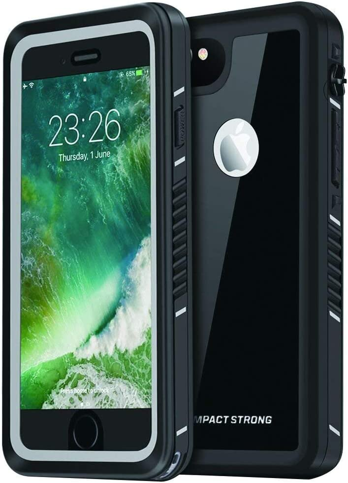 "ImpactStrong iPhone 6 Waterproof Case [Fingerprint ID Compatible] Slim Full Body Protection Cover for Apple iPhone 6 / 6s (4.7"") - FS Jet Black"